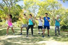 Groupe de personnes s'exerçant en parc Image libre de droits