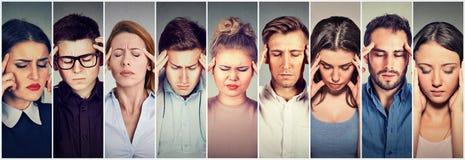 Groupe de personnes soumises à une contrainte ayant le mal de tête Images stock