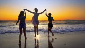 Groupe de personnes sur la plage dans le coucher du soleil se tenant pour des mains ayant l'amusement Photo libre de droits