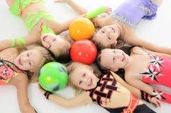 Groupe de petites filles sportives Photo stock