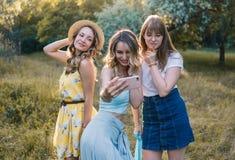 Groupe de photo de selfie de prise d'amies Photo libre de droits