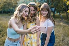 Groupe de photo de selfie de prise d'amies Photos libres de droits