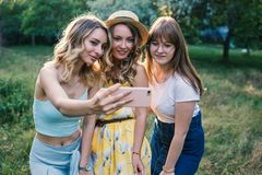 Groupe de photo de selfie de prise d'amies Image stock