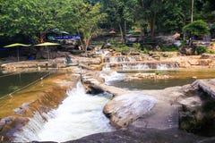 Groupe de plan rapproché d'étangs de cascades en parc tropical Photos stock