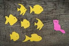 Groupe de poissons jaunes contre un petit chat Image stock