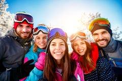 Groupe de portrait de skieurs d'amis des vacances d'hiver Image libre de droits