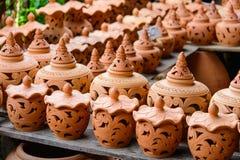 Groupe de poterie de terre, fond de texture de poterie de terre images libres de droits