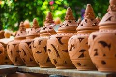 Groupe de poterie de terre, fond de texture de poterie de terre Image stock