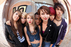 Groupe de punks Fisheye Photo libre de droits