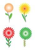 Groupe de quatre fleurs Photos stock