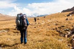 Groupe de randonneurs en montagnes Image libre de droits