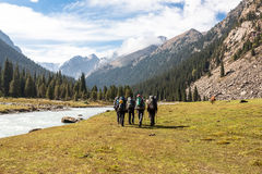 Groupe de randonneurs en montagnes Photos libres de droits