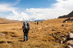 Groupe de randonneurs en montagnes de Tien Shan, Kirghizistan Photos libres de droits