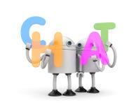 Groupe de robots avec le mot CAUSERIE Photo stock
