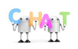 Groupe de robots avec le mot CAUSERIE Photos libres de droits