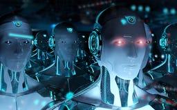 Groupe de robots masculins suivant le rendu de l'armée 3d de cyborg de chef illustration de vecteur