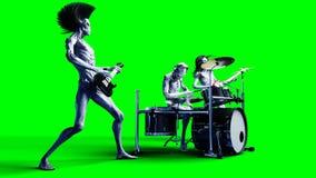 Groupe de rock étranger drôle Basse, tambour, guitare Shaders réalistes de mouvement et de peau longueur d'écran du vert 4K illustration stock