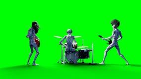 Groupe de rock étranger drôle Basse, tambour, guitare Shaders réalistes de mouvement et de peau longueur d'écran du vert 4K illustration de vecteur