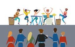 Groupe de rock exécutant devant l'assistance Exposition de roche et la foule Ilustration plat coloré de vecteur, horizontal illustration stock