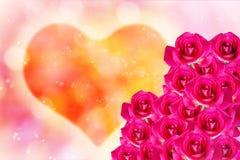 Groupe de rose de rose sur la lumière de coeur pour le fond romantique de valentine Images libres de droits