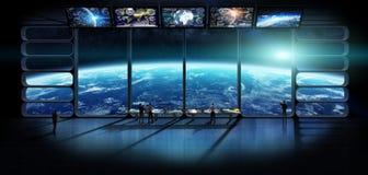 Groupe de scientifiques observant l'elem de rendu de la terre 3D de planète Photographie stock libre de droits
