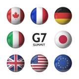 Groupe de sept Drapeaux de pays Sommet de G7 Image stock