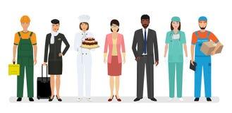 Groupe de sept personnes avec la profession différente comprenant le chef et l'infirmière de boulanger Bannière d'emploi et de Fê illustration stock