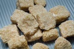 Groupe de sucre de canne brun de cubes Photo stock