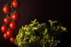 Groupe de tomates-cerises fraîches et de salade verte sur un backgr noir photo libre de droits