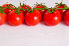 Groupe de tomates organiques fraîches d'isolement sur le fond blanc Images stock