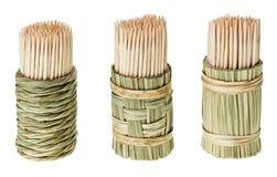 Groupe de toothpick en bois dans le support rond photographie stock libre de droits