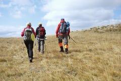 Groupe de touristes avec des sacs à dos sur une traînée de montagne photographie stock