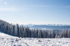 Groupe de touristes sur la colline couverte de neige Photographie stock