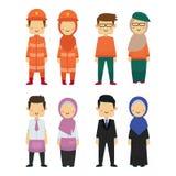 Groupe de travailleurs de diversité avec le fond blanc illustration libre de droits