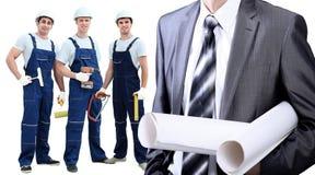 Groupe de travailleurs industriels professionnels D'isolement au-dessus du fond blanc Photos stock