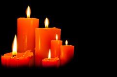 Groupe de trois bougies de lumières Photographie stock libre de droits
