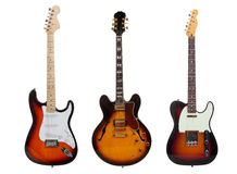 Groupe de trois guitares électriques sur le blanc Photo libre de droits
