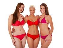 Groupe de trois jeunes femmes dans le bikini Image libre de droits