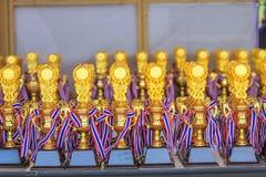 Groupe de trophées sur la table Images stock