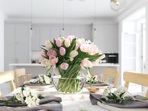Groupe de tulipes dans un appartement nordique de style rendu 3d photos libres de droits