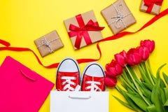 Groupe de tulipes rouges, chaussures en caoutchouc rouges, paniers frais, ruban Image libre de droits