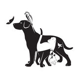 Groupe de vecteur d'animaux familiers Image stock