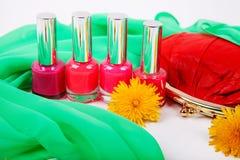 Groupe de vernis à ongles lumineux Photo stock