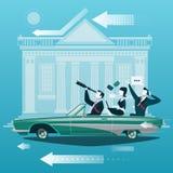 Groupe de voyage d'homme d'affaires en la voiture avec le bâtiment d'échange de marché boursier sur le fond Vecteur de concept d' Photographie stock