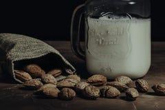 Groupe des amandes et de la bouteille avec du lait d'amande images libres de droits