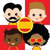 Groupe des défenseurs de l'Espagne heureuse illustration de vecteur