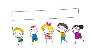 Groupe des enfants et de la bannière Photo stock