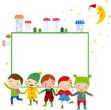 Groupe des enfants et du cadre - hiver Photographie stock libre de droits