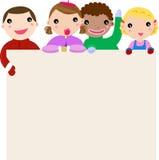 Groupe des enfants et du drapeau illustration de vecteur