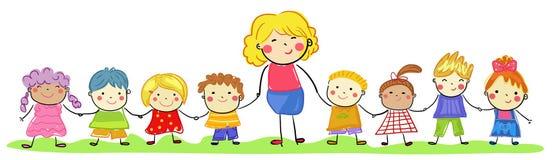 Groupe des enfants et du professeur, croquis de dessin illustration libre de droits